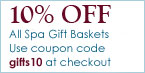 10 percent off spa gift baskets