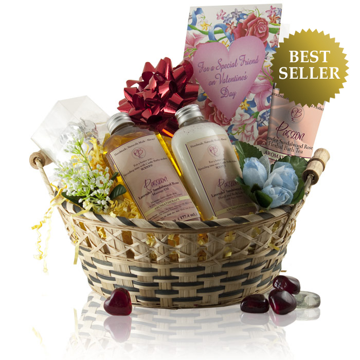 Spa Bath Love Gift Basket With Scented Oils Lotion Amp Tea